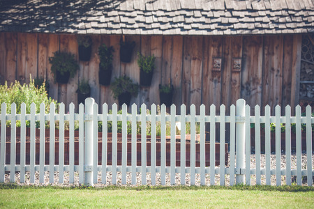 picket: White picket fence in front af a wooden shed with plants