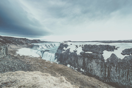 Gullfoss waterfall in cloudy weather in Iceland