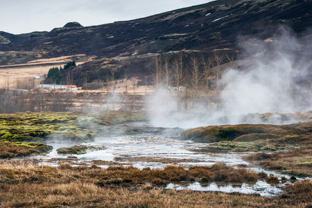 Geothermal swamp with mist in icelandic nature Stock Photo