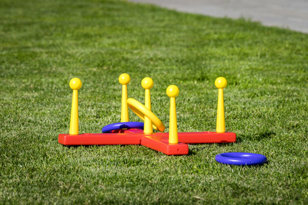 Outdoor ring game often used as an activity in the backyard in the summer Stock Photo