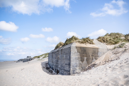 Bunker from world war 2 burried in a dune on a beach in Denmark