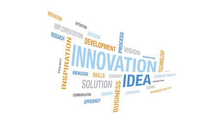 Innovation cloud tag containing various words about progress and strategy