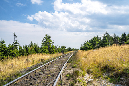 Countryside railroad in a rural environment in the summer