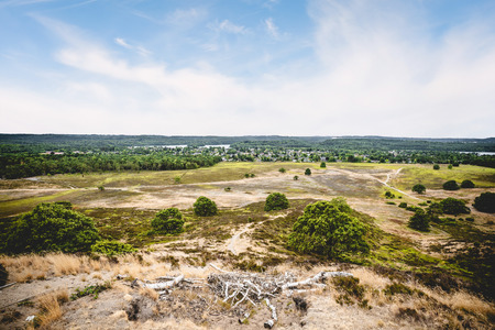 View from a hill in the summer with dry plains under a blue sky