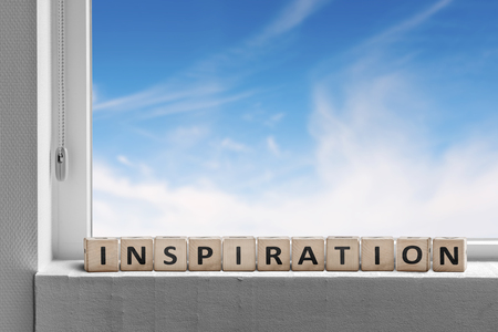 Inspiration message in a windows sill with blue sky outside Stok Fotoğraf