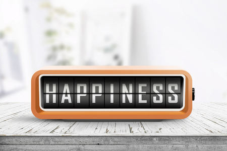 Happiness message on a retro alarm clock in a bright room with flowers Stok Fotoğraf