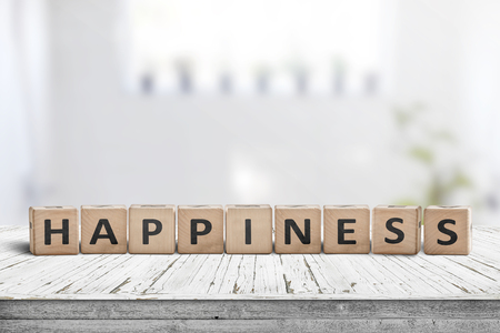 Happiness sign made of wood in a bright living room in the spring