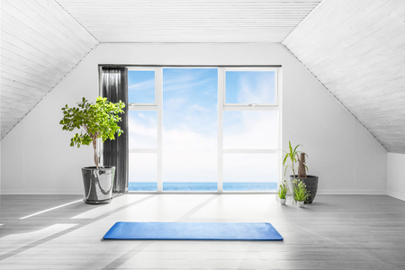 Indoor yoga scene with a blue mat in a bright room with an ocean view and a couple of green plants Stok Fotoğraf