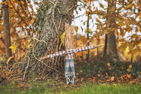 Wiejski strach na wróble stojący w ogrodzie jesienią w koszuli i spodniach