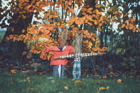 Scarecrows in a garden in the fall with autumn leaves hanging above