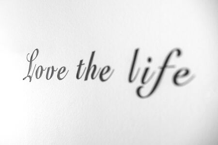 Love the life word phrase on a bright white wall with black letters