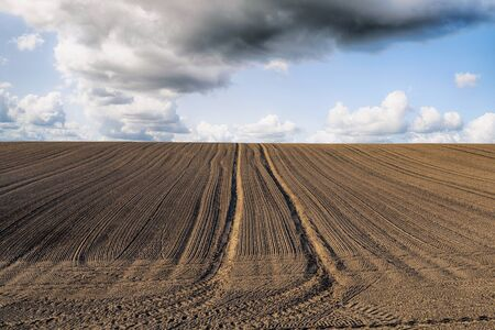 Plowed field with tracks under a blue sky with dark clouds in the spring