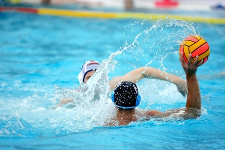 waterpolo: A waterpolo player action during a game