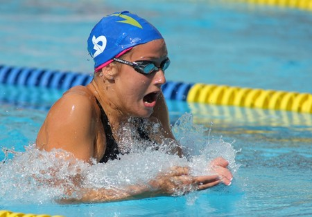 belmonte: Spanish medalist recordwoman swimmer Mireia Belmonte swims breakstroke style during Mare Nostrum meeting in Barcelonas Sant Andreu club, June 6, 2009 in Barcelona, Spain.