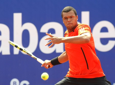 grand slam: French Jo-Wilfried Tsonga in action during the second round match of the Barcelona tennis tournament Conde de Godo on April 21, 2010 in Barcelona.
