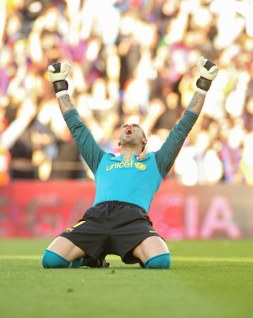 champion of spain: Victor Valdes of Barcelona during a Spanish League match between FC Barcelona and Valladolid at the Nou Camp Stadium on May 16, 2010 in Barcelona, Spain