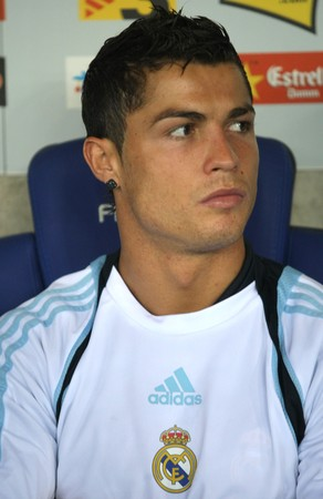 Cristiano Ronaldo of Real Madrid before a Spanish League match against RCD Espanyol at the Estadi Cornella-El Prat on September 12, 2009 in Barcelona, Spain