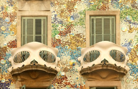 Detail of Antoni Gaudi modernist building, Casa Batllo, in Barcelona. photo