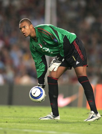 AC Milan goalkeeper Dida during a friendly match between FC Barcelona and AC Milan at the Nou Camp Stadium on August 26, 2004 in Barcelona, Spain