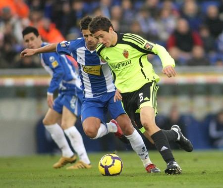 ander: Marquez (L) of Espanyol with Ander Herrera (R) of Zaragoza during a Spanish League match Espanyol vs Zaragoza at the Estadi Cornella on January 10, 2010 in Barcelona, Spain Editorial