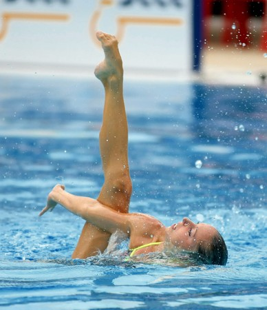 Spanish olympic medalist Gemma Mengual swims a solo exercise during the Espana Sincro meeting in Barcelona Picornell Swimpool, June 14, 2007 in Barcelona, Spain.