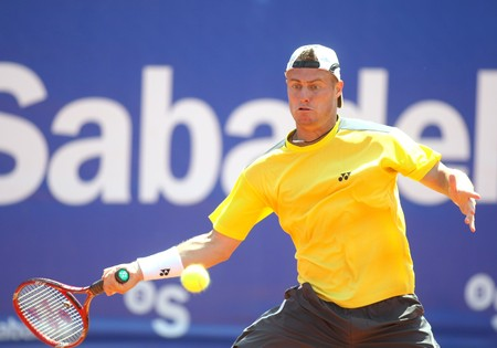 conde: Australian Lleyton Hewitt in action during the first round match of the Barcelona tennis tournament Conde de Godo on April 20, 2010 in Barcelona.