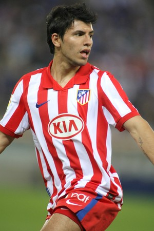 sergio: Kun Agüero of Atletico Madrid in action during a Spanish League match between Espanyol and Atletico Madrid at the Estadi Cornella on April 11, 2010 in Barcelona, Spain Editorial