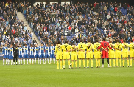 Minut of Silence for a earthquake Chilean victims before a Spanish League match between Espanyol and Villareal at the Estadi Cornella on March 7, 2010 in Barcelona, Spain