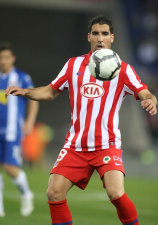 midfielder: Raul Garcia of Atletico Madrid in action during a Spanish League match between Espanyol and Atletico Madrid at the Estadi Cornella on April 11, 2010 in Barcelona, Spain