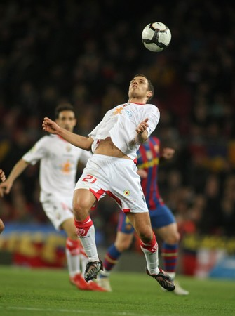 Krisztian Vadocz of Osasuna in action during a Spanish League match between FC Barcelona and Osasuna at the Nou Camp Stadium on March 24, 2010 in Barcelona, Spain