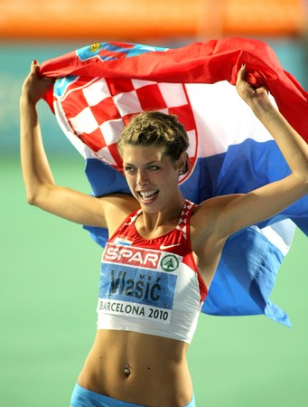 Blanka Vlasic of Croatia celebrates victory in High Jump Final of the 20th European Athletics Championships at the Olympic Stadium on August 1, 2010 in Barcelona, Spain. Stock Photo - 7514620