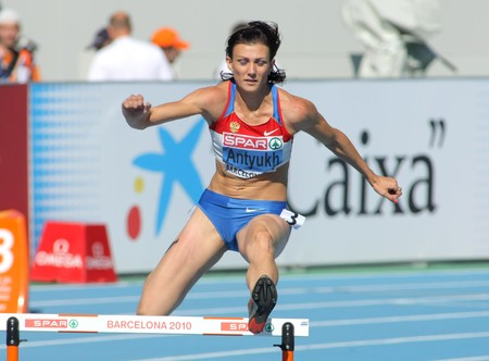 Natalya Antyukh of Russia compete in the Women 400m Hurdles during the 20th European Athletics Championships at the Olympic Stadium on July 27, 2010 in Barcelona, Spain.