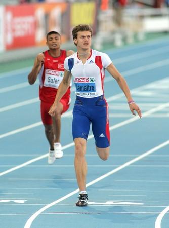 finalistin: Christophe Lemaitre Frankreichs konkurriert auf die M�nner 100 Meter w�hrend der 20th Leichtathletik-Europameisterschaft am Olympiastadion am 27 Juli 2010 in Barcelona, Spanien.