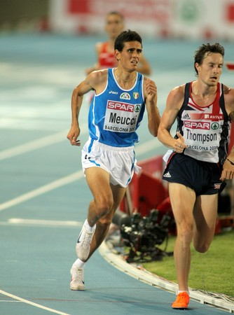 daniele: Daniele Meucci of Italy competes the Men 10000m final during the 20th European Athletics Championships at the Olympic Stadium on July 27, 2010 in Barcelona, Spain