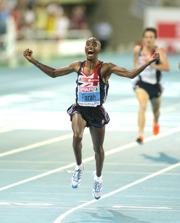 somalian: Mo Farah of Great Britain winning the Men 10000m final during the 20th European Athletics Championships at the Olympic Stadium on July 27, 2010 in Barcelona, Spain Editorial