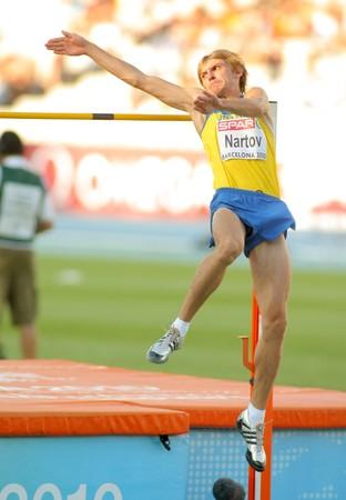 finalistin: Oleksandr Nartov der Ukraine konkurriert auf M�nner Hochsprung w�hrend der 20th Leichtathletik-Europameisterschaft am Olympiastadion am 27 Juli 2010 in Barcelona, Spanien