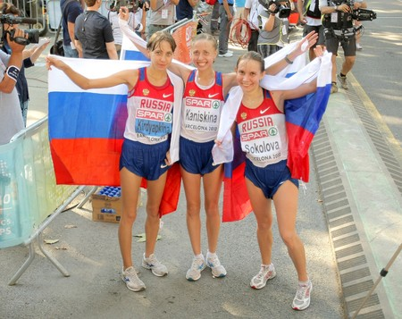 isotonic: Kirdyapkina, Kaniskina and Sokolova of Russia winners on Women 20km Walk Final of the 20th European Athletics Championships at the Parc de la Ciutadella on July 28, 2010 in Barcelona, Spain Editorial