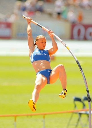 Nikoleta Kiriakopoulou of Greece during Women Pole Vault of the 20th European Athletics Championships at the Olympic Stadium on July 28, 2010 in Barcelona, Spain