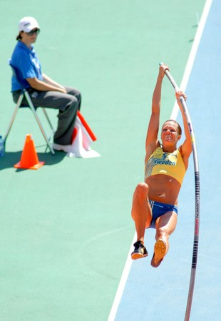 Hanna-Mia Persson of Sweden during Women Pole Vault of the 20th European Athletics Championships at the Olympic Stadium on July 28, 2010 in Barcelona, Spain