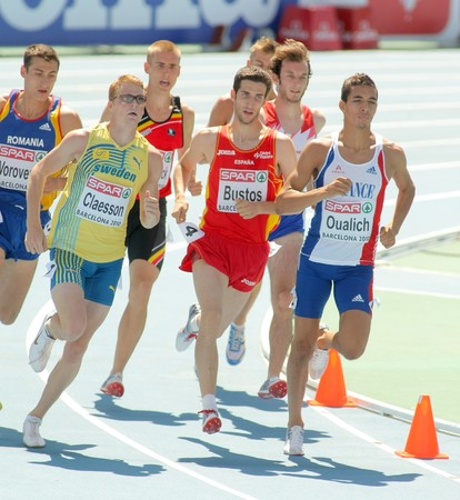 competitor: Competitors of 800m Men Round 1 of the 20th European Athletics Championships at the Olympic Stadium on July 28, 2010 in Barcelona, Spain Editorial