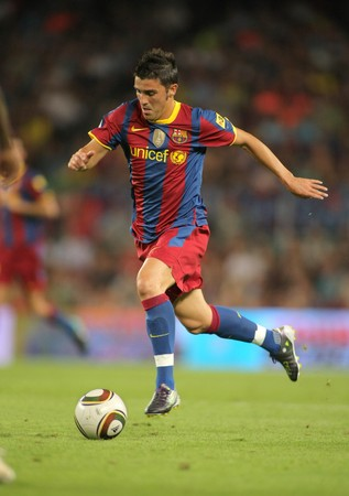liga: David Villa of Barcelona during Supercup match between Barcelona vs Sevilla at the New Camp Stadium in Barcelona on August 21, 2010