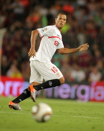luis: Luis Fabiano of Sevilla during Supercup match between Barcelona vs Sevilla at the New Camp Stadium in Barcelona on August 21, 2010