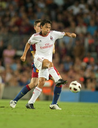 Filippo Inzaghi player of AC Milan in action during Trophy Joan Gamper match between FC Barcelona and AC Milan at Nou Camp Stadium in Barcelona, Spain. August 25, 2010