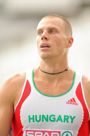 Daniel Kiss of Hungary after compete the 110m Hurdles event during the 20th European Athletics Championships at the Olympic Stadium on July 29, 2010 in Barcelona, Spain Stock Photo - 7738615