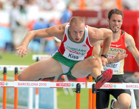 hurdling: Daniel Kiss of Hungary competes on the 110m Hurdles event during the 20th European Athletics Championships at the Olympic Stadium on July 29, 2010 in Barcelona, Spain