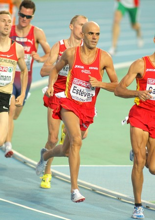 Reyes Estevez of Spain competes on the Men 1500m event during the 20th European Athletics Championships at the Olympic Stadium on July 28, 2010 in Barcelona, Spain Stock Photo - 7738621