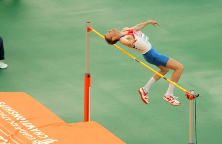 Aleksander Shustov of Russia competes on the Men High Jump during the 20th European Athletics Championships at the Olympic Stadium on July 29, 2010 in Barcelona, Spain