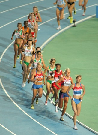 Competitors of 10000m Women Final of the 20th European Athletics Championships at the Olympic Stadium on July 28, 2010 in Barcelona, Spain
