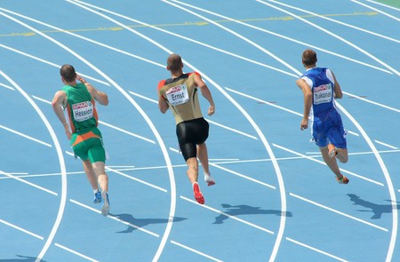 Competitors of 200m Men of the 20th European Athletics Championships at the Olympic Stadium on July 29, 2010 in Barcelona, Spain