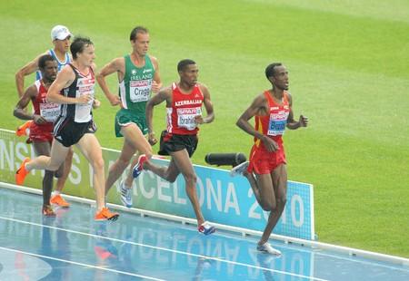 finalistin: Wettbewerber von 5000m M�nner w�hrend der 20th Europameisterschaft am Olympiastadion am Juli 29, 2009 in Barcelona, Spanien  Editorial